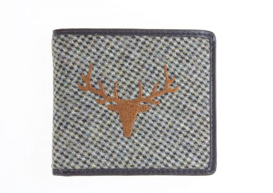 Grey Islay Tweed Luxury Quality Mens Wallet with Stag Image Card Holder